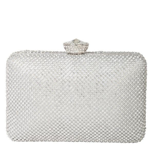 Rimen and Co. Rhinestone Crystal Hard Box with Hidden Long Strap Clutch Evening Bag
