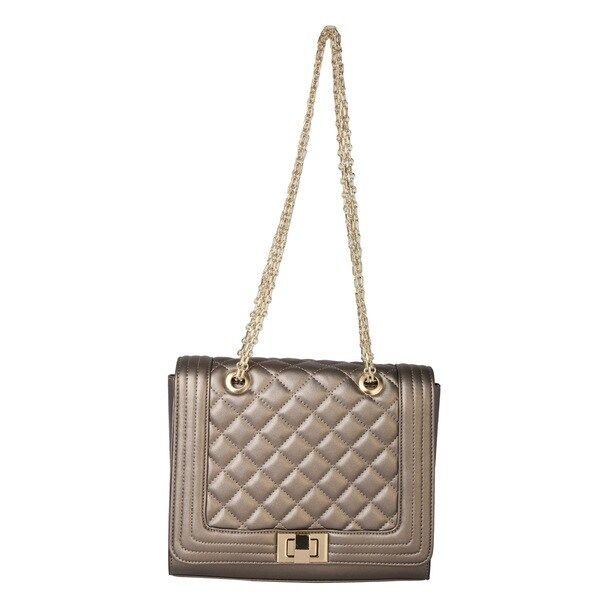Diophy Cocktail Party Gold Chain Quilted Shoulder Handbag
