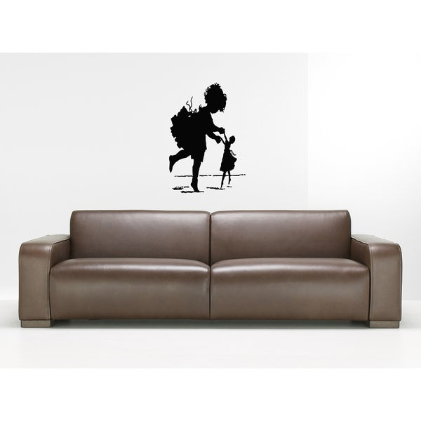 Little Girl with a Doll Wall Art Sticker Decal