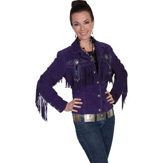 Scully Women's Leather Boar Suede Purple Fringe and Beaded Jacket