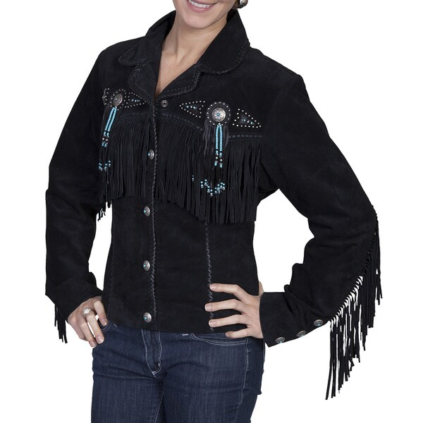 Scully Leather Women's Black Boar Suede Fringe and Beaded Jacket