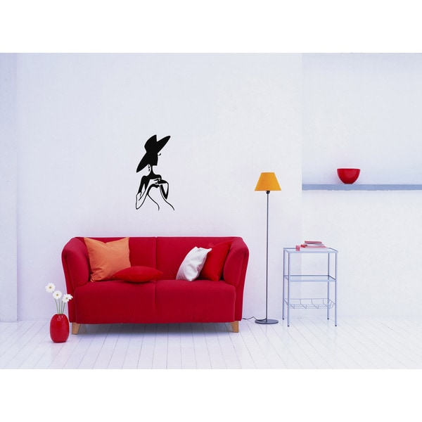 Woman in a Hat Wall Art Sticker Decal