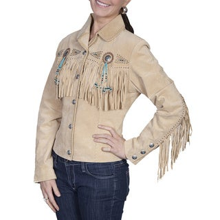 Scully Leather Women's Camel Boar Suede Fringe and Beaded Jacket