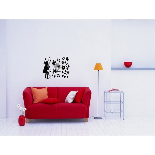 Girl on a swing Music Wall Art Sticker Decal