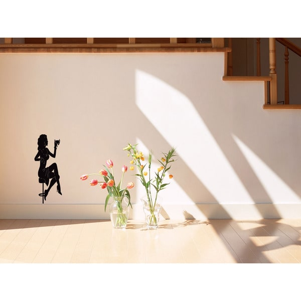 Girl Wine Glass Wall Art Sticker Decal