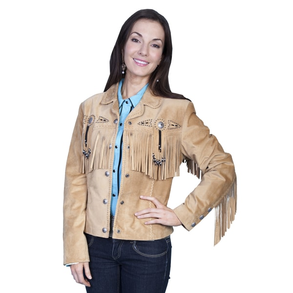 Scully Leather Women's Rust Boar Suede Fringe and Beaded Jacket