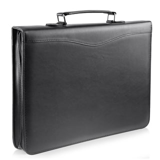 Zodaca Black Leather Zipper Executive Portfolio Document Organzier with Calculator and Pockets