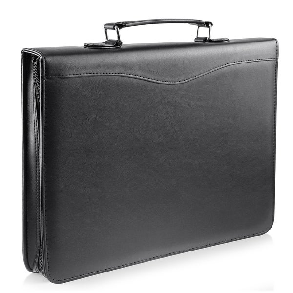 Zodaca Black Leather Zipper Executive Portfolio Document Organzier with Calculator and Pockets