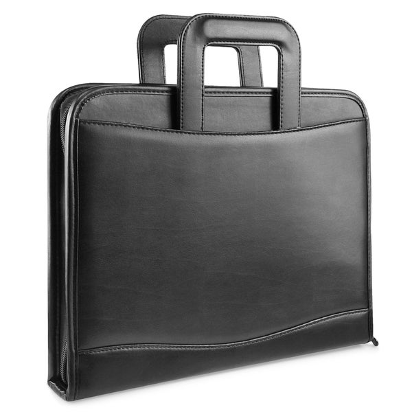 Zodaca Black Leather Zipper Business Portfolio with Stationary Set