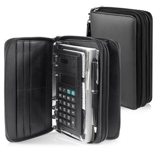Zodaca Black Leather Zipper Personal Travel Organzier with Card Slots
