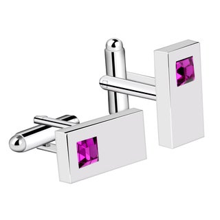 Zodaca Mens Silver Rectangle with Purple Diamond Vintage Cufflinks