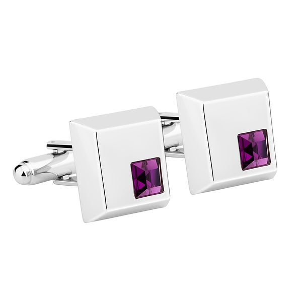 Zodaca Mens Silver Square with Purple Diamond Vintage Cufflinks