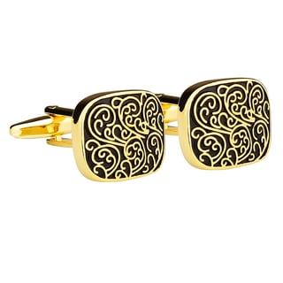 Zodaca Mens Black/ Copper Waves Pattern Cufflinks for Wedding/ Party