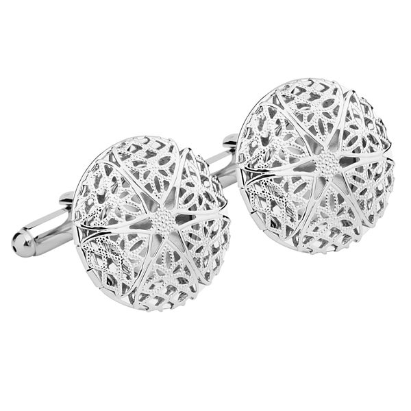 Zodaca Mens Silver Circle Cufflinks