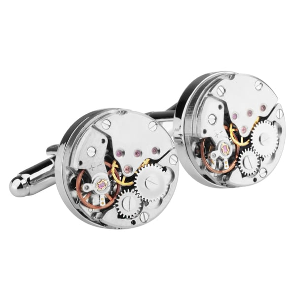 Zodaca Mens Silver Gear Watch Movement Steampunk Vintage Cufflinks
