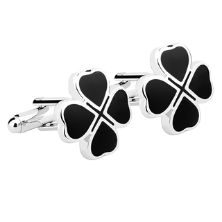 Zodaca Mens Black Four Leaf Clover Cufflinks
