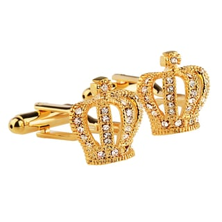 Zodaca Mens Golden Crown with Jewel Vintage Cufflinks