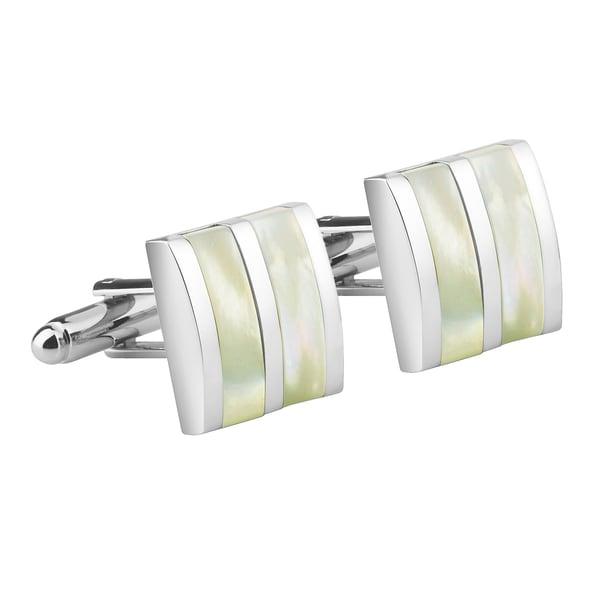Zodaca Mens Silver/ Yellow Jade Camber Cufflinks