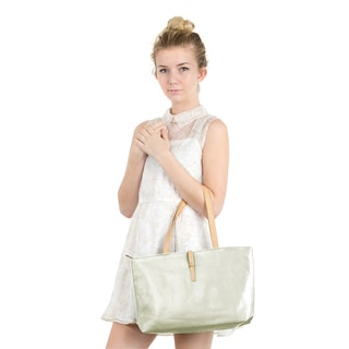 Zodaca Women's Beige Faux Leather Fashion Classic Casual Tote Handbag Shoulder Bag with Buckle