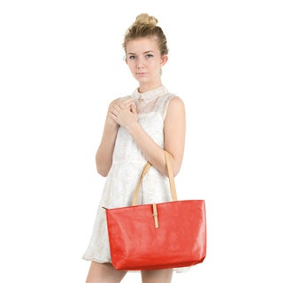 Zodaca Women's Red Faux Leather Fashion Casual Classic Shoulder Tote Handbag with Buckle