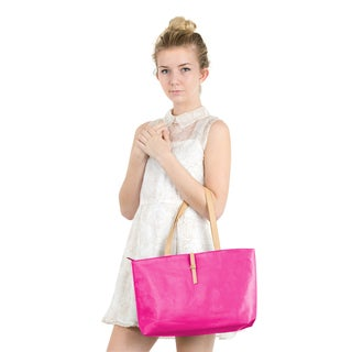 Zodaca Women's Rose Pink Faux Leather Fashion Casual Classic Handbag Shoulder Tote Bag with Buckle