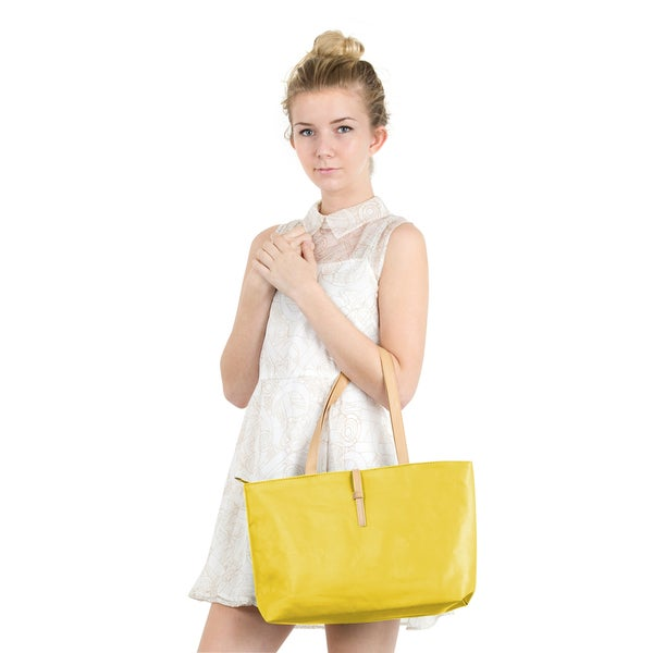 Zodaca Women's Yellow Faux Leather Classic Fashion Handbag Shoulder Tote Bag with Buckle