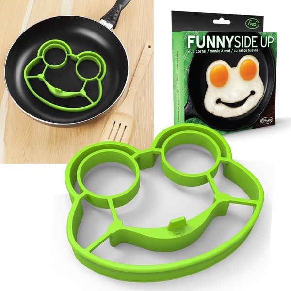 Fred & Friends Green Silicone Rubber Funny Side Up Frog Fried Egg Corral Cooker Fried Egg Mold Kitchen Utility