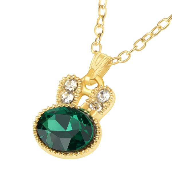 Zodaca Gold/ Green Rabbit Crystal Metal Pendant Necklace