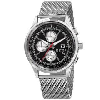 August Steiner Men's Swiss Quartz Dual-Time Multifunction Stainless Steel Mesh Bracelet Watch
