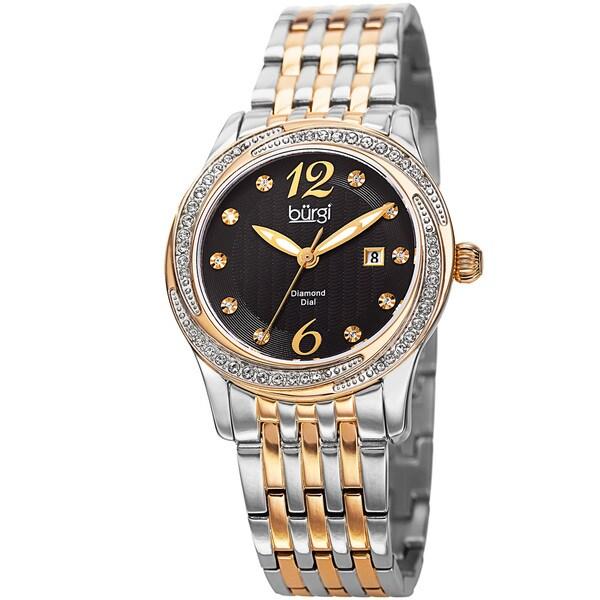 Burgi Women's Quartz Diamond & Swarovski Accented Dial Stainless Steel Bracelet Watch
