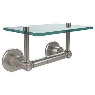 Allied Brass Washington Square Two Post Toilet Tissue Holder with Glass Shelf