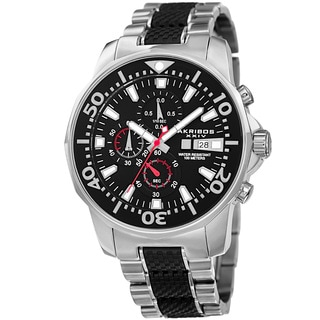 Akribos XXIV Men's Bold Chronograph Two-tone Stainless Steel Bracelet Watch