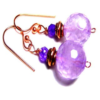 Amethyst Solid Copper Drop Earrings