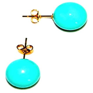 Vermeil Colored Mother of Pearl Teal Stud Earrings