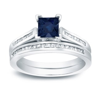 Auriya 14k Gold 4/5ct Blue Sapphire and 3/4ct TDW Princess-Cut Diamond Bridal Ring Set (H-I, SI1-SI2)