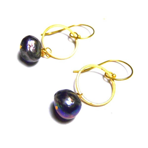 Black Pearl Raw Brass Drop Modern Earrings