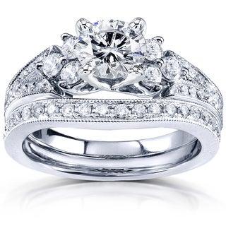 Annello 14k White Gold 1 5/8ct TCW Moissanite and Diamond Bridal Rings Set (G-H, I1-I2)