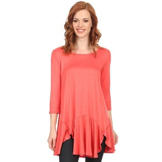 MOA Collection Women's Solid 3/4 Sleeve Top