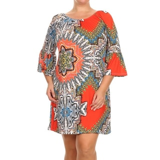 MOA Collection Women's Plus Size Short Dress with Pattern