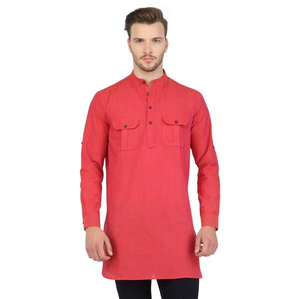Shatranj Men's Pink Indian Mid-Length Kurta Tunic Banded Collar Two Pocket Shirt (India)