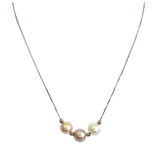14k Yellow Gold Multi-colored Sea Pearl Necklace (8 - 9 mm)