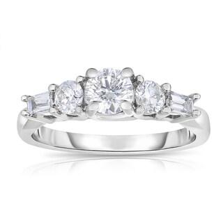 Eloquence 14k White Gold 1ct TDW Diamond Five-Stone Engagement Ring (H-I, I1-I2)