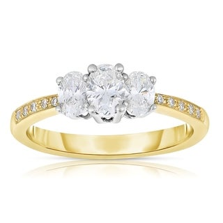 Eloquence 14k Yellow Gold 1ct TDW Diamond Three-Stone Engagement Ring (H-I, SI1-SI2)