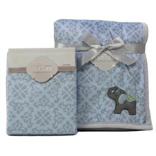 Nurture Elephant Jubilee Nursery Plush Blanket and Changing Pad Cover Set