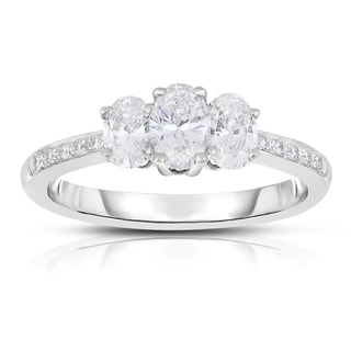 Eloquence 14k White Gold 1ct TDW Diamond Three-Stone Engagement Ring (H-I, SI1-SI2)