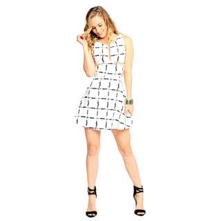 Sara Boo Women's Check Mesh Side and Back Skater Dress