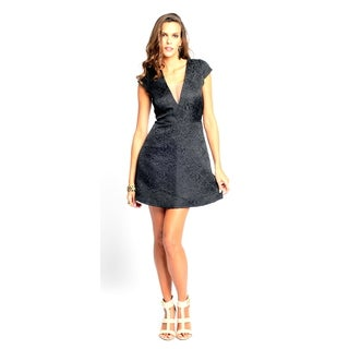 Sara Boo Women's Black Solid Floral Pattern V-Neck Dress