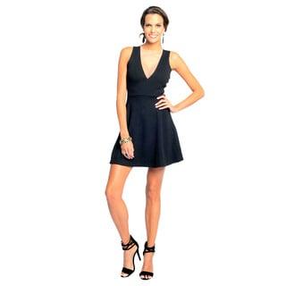 Sara Boo Women's Black Deep V-Neck Mesh Back Dress