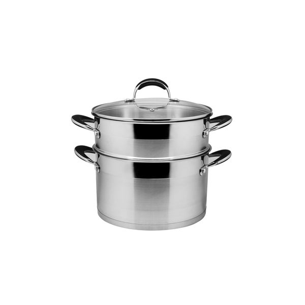 Stainless Steel 8 Quart Stock Pot and Steamer Set with Glass Lid