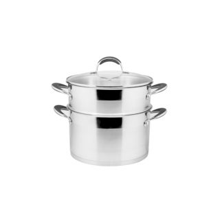 Prime Cook Stainless Steel 8-quart Stock Pot and Steamer Set with Glass Lid